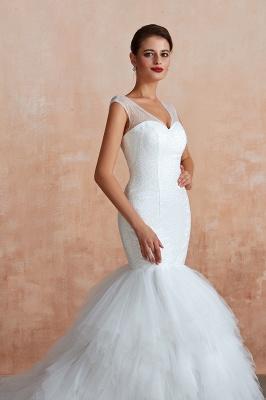 Floor Length V-neck Cap Sleeves Sexy Mermaid Wedding Dresses | Affordable Bridal Gown_10