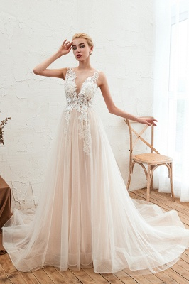 Round Neckline Sleeveless A-line Lace Up Sweep Train Lace Appliques Wedding Dresses_6