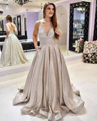 Spaghetti Straps V-neck A-line Metallic Long Prom Dresses | Trendy Evening Dresses_3