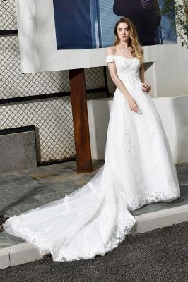 Gorgeous A-Line Lace Off Shoulder Floow Length Wedding Dresses_1