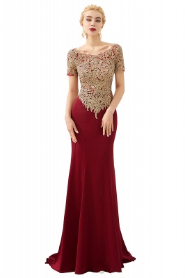 Bateau Short Sleeves Applique Fitted Long Prom Dresses | Burgundy Evening Dresses_1