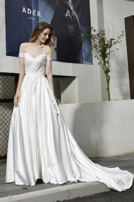 Cheap A Line Off the Shoulder Lace Satin White Wedding Gowns_13