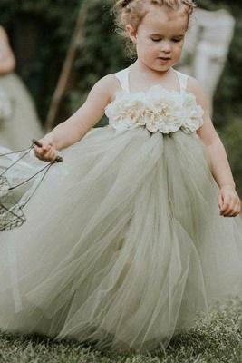 Lovely Straps Ball Gown Tulle Flower Girl Dresses with handmade Flowers_1