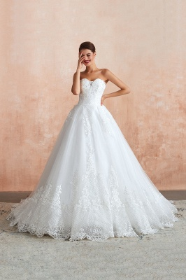 Floor Length Strapless Sweetheart A-line Gorgeous Lace Wedding Dresses_10
