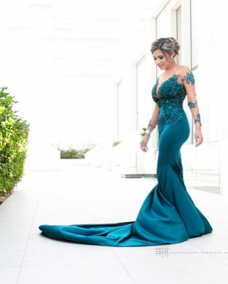 Gorgeous Sweep Train Bateau Applique Prom Dresses with Long Sleeves_2