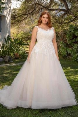 Straps Floor Length A-line Lace Tulle Wedding Dresses | Plus Size Bridal Gown_1