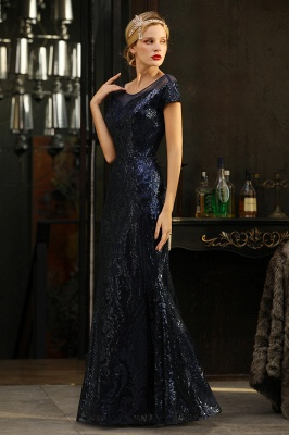 Bateau Short Sleeves Long Sequins Prom Dresses   Floor Length Fitted Evening Dresses_6