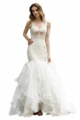 Wholesale Long Mermaid Lace Organza Wedding gowns Ruffles Train_5