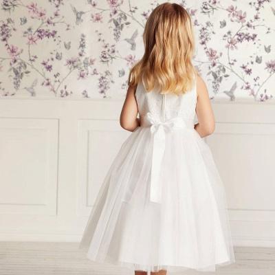 Jewel Sleeveless Ribbon Belt Lace Tulle Long Flower Girl Dresses_3