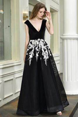 Black Straps Deep V neck A Line Prom Dresses | Applique Lace Corset Back Evening Dresses_7