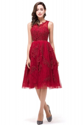 A-Line Knee-Length Red Lace Tull Prom Dresses with sequins_1
