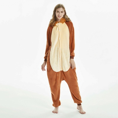 Super Soft Adult Lion Brown Onesies Pajamas for Girls_10