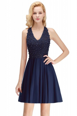 Cheap A-line V-neck Sleeveless Short Appliques Chiffon Homecoming Dress in Stock_3