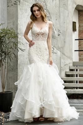 Wholesale Long Mermaid Lace Organza Wedding gowns Ruffles Train_2