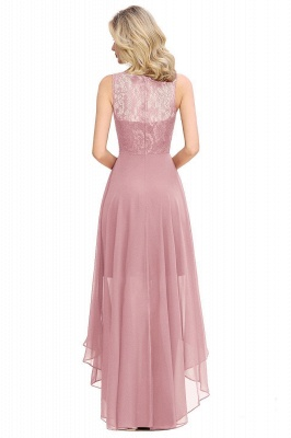 Jewel Sleeveless Hi-Lo Lace Chiffon Bridesmaid Dresses | Simple Wedding Guest Dresses_3