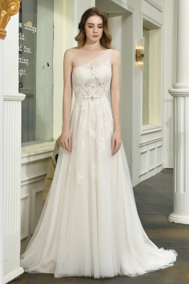 Sexy One Shoulder Lace Tulle Wedding Dresses Open Back_1