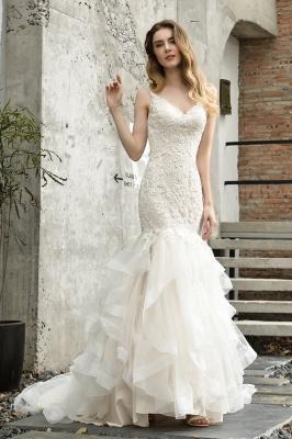 Cheap Floor Length Mermiad Sweetheart Lace Wedding Dresses_1