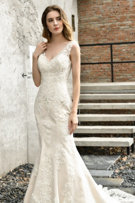 Cheap Long Lace Wedding Dresses Backless Floor Length Straps Online_10
