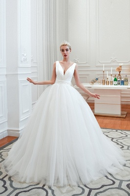 Elegant Floor Length V-neck Straps Belted A-line Tulle Wedding Dresses_3