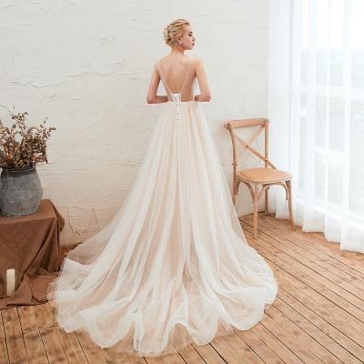 Round Neckline Sleeveless A-line Lace Up Sweep Train Lace Appliques Wedding Dresses_13