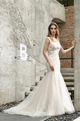 Gorgeous Floor Length  Lace Tulle Wedding Dresses Mermaid_7
