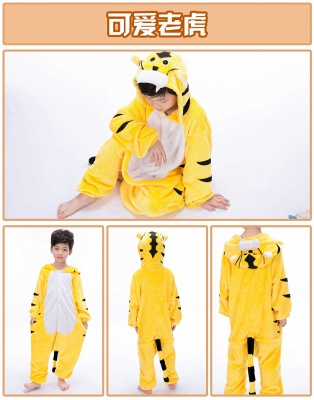 Cute Animal Pyjamas for Kids Tiger Onesies, Yellow_8