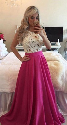 Sleeveless Long A-line Gorgeous Pearls Fuchsia Lace Evening Gowns_3