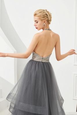 Stylish Floor Length Halter Beaded Tiered Blackless Tulle Prom Dresses_9