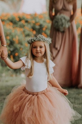 Lovely Jewel Short Sleeves Floor Length Ball Gown Tulle Flower Girl Dresses_1