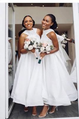 Tea Length A-line Sleeveless Elegant Bridesmaid Dresses | Affordable Maid of Honor Dresses_2