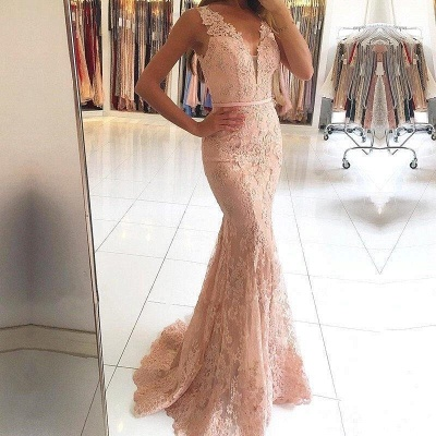 Sexy Lace Long Pink Mermaid Evening Dresses_2