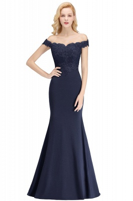 Cheap Mermaid Off-the-shoulder Long Appliques Satin Bridesmaid Dress in Stock_6