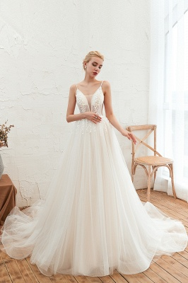 Elegant Spaghetti Straps Lace Up A-line Floor Length Lace Tulle Wedding Dresses_5