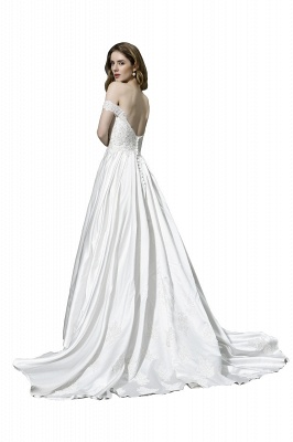 Cheap A Line Off the Shoulder Lace Satin White Wedding Gowns_4