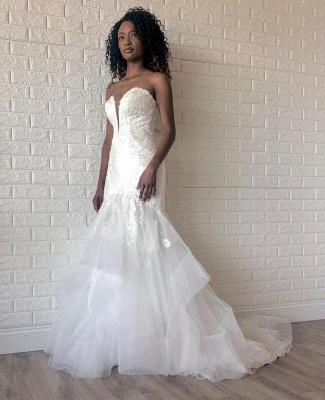 Floor Length Strapless Sweetheart Organza Appliques Gorgeous Mermaid Wedding Dresses_3