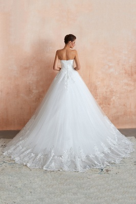 Floor Length Strapless Sweetheart A-line Gorgeous Lace Wedding Dresses_3