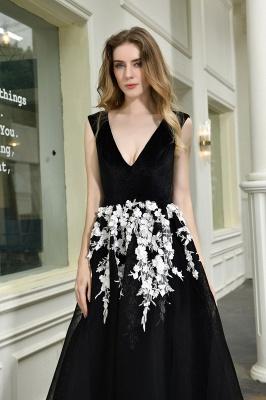 Black Straps Deep V neck A Line Prom Dresses | Applique Lace Corset Back Evening Dresses_5