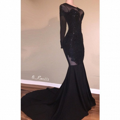 Long-Sleeves Backless Black Mermaid Appliques Sexy Prom Dress_2