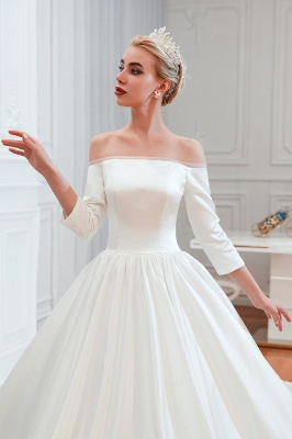 Gorgeous Off the Shoulder Half Sleeves Floor Length A-line Satin Wedding Dresses_7