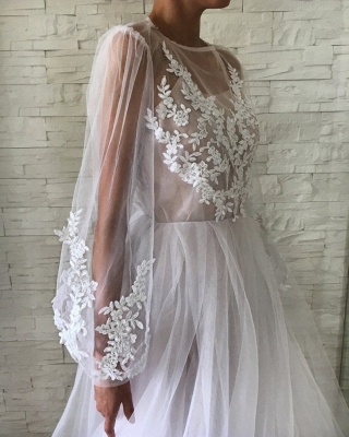 Jewel See Through Tulle Appliques Lace Prom Dresses | Long Evening Dresses with Sleeves_3