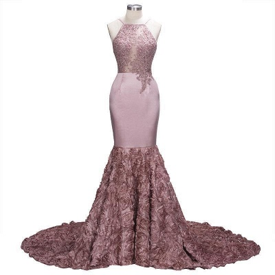 Pink Beaded Luxury Rose-Flowers Mermaid 3D Prom Dress_2