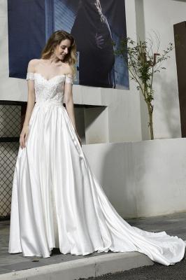 Elegant Appliques Off the Shoulder Sweetheart Lace Wedding Dresses_10