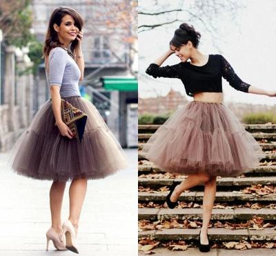 Elegant Tulle Short Ball-Gown Knee Length Elastic Women Skirts_51