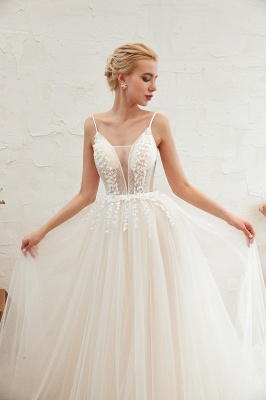 Elegant Spaghetti Straps Lace Up A-line Floor Length Lace Tulle Wedding Dresses_21