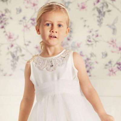 Simple Jewel Sleeveless Beaded Tulle Flower Girl Dresses | Wedding Dress for Girls_3