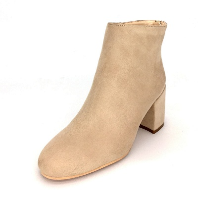 Black Apricot Short Boots Women's Winter Thick Heel_7