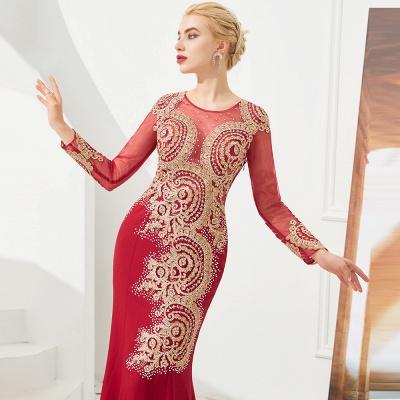 Gorgeous Form-fitting Long Sleeves Floor Length Prom Dresses | Long Beaded Evening Dresses_11