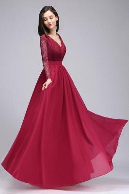 Elegant A-line Chiffon Lace Long Sleeves Evening Dress On Sale_5