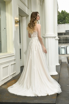 One Shoulder Tulle Sexy A-Line Lace Wedding Dress_3