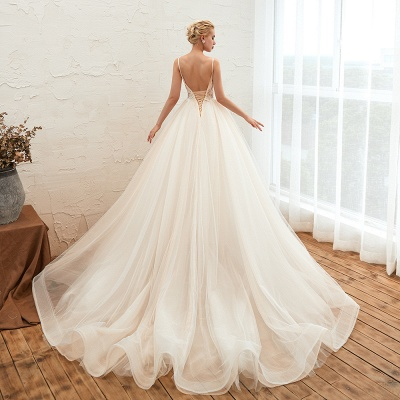 Gorgeous Spaghetti Straps V-neck Floor Length A-line Lace Tulle Wedding Dresses_20